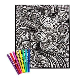 kids crafts velvet coloring poster geometric 16 x 20 in - Velvet Coloring Book