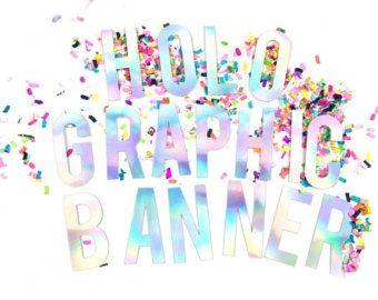 Bandera de partido holográfica - decoración iridiscente - tema del unicornio y la sirena - banner personalizado para cumpleaños, despedida de soltera y despedidas