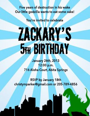 His Godzilla birthday invitations
