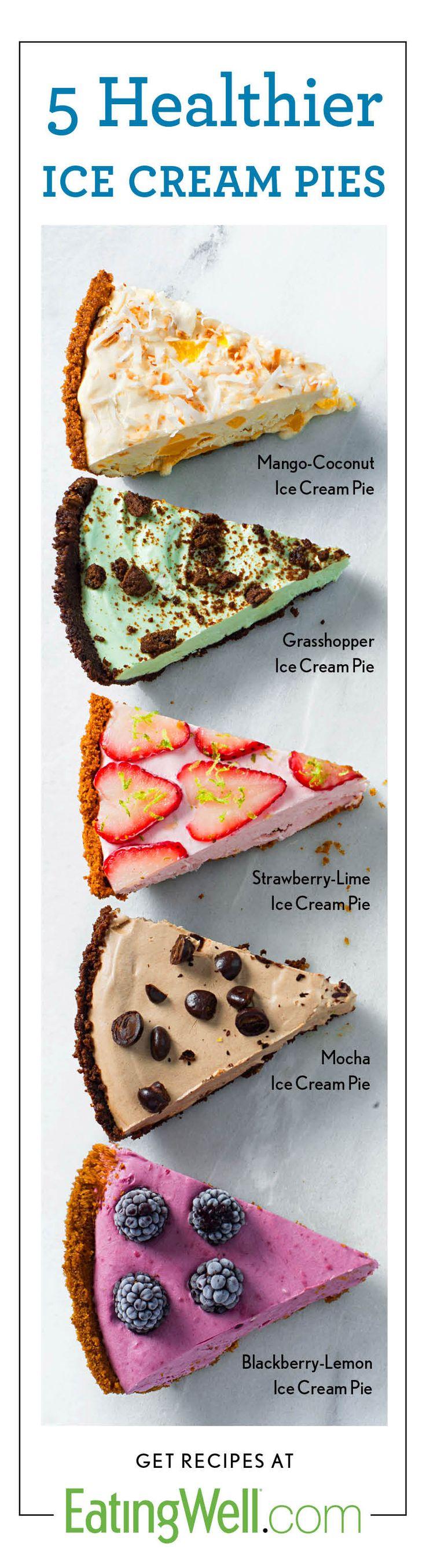 Homemade Ice Cream Pies using greek yogurt and fruit