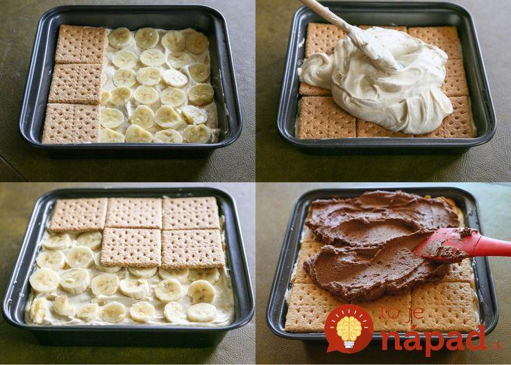Vynikajúci dezert bez pečenia z maslových sušienok, banánov a vynikajúceho vanilkovo-čokoládového krému. Je skutočne fantastický Potrebujeme: Maslové sušienky (27 ks) Na vanilkovú vrstvu: 2 bal. vanilkového alebo smotanového pudingu 700 ml mlieka 4 lyžice hnedého cukru 200 ml kyslej smotany 50 g masla 3 …