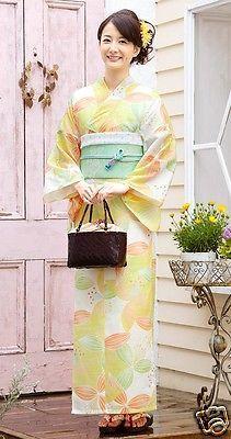 Japanese Yukata w/ Obi Sandals Set Summer Kimono Light flower F/S
