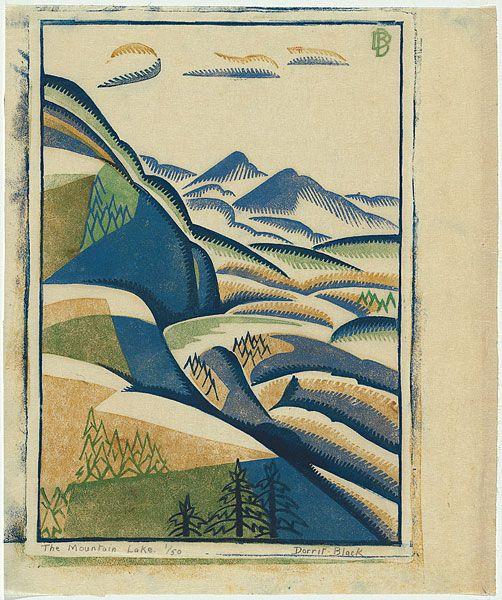 Dorrit Black: The mountain lake. Linocut, c. 1935.