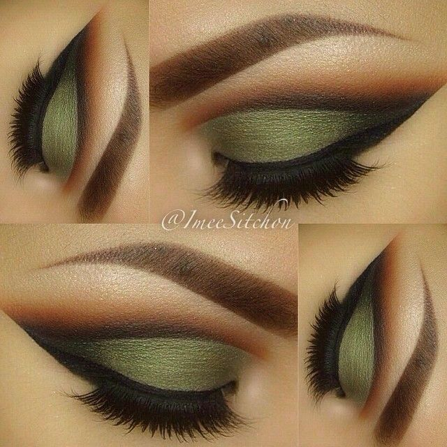 Army green with a cut crease