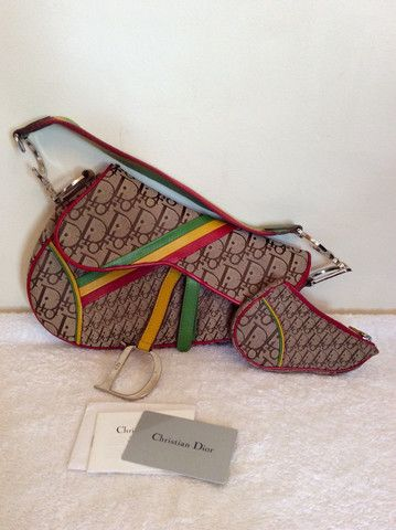 CHRISTIAN DIOR RASTA SADDLE BAG & MATCHING PURSE - Whispers Dress Agency - Shoulder Bags - £200