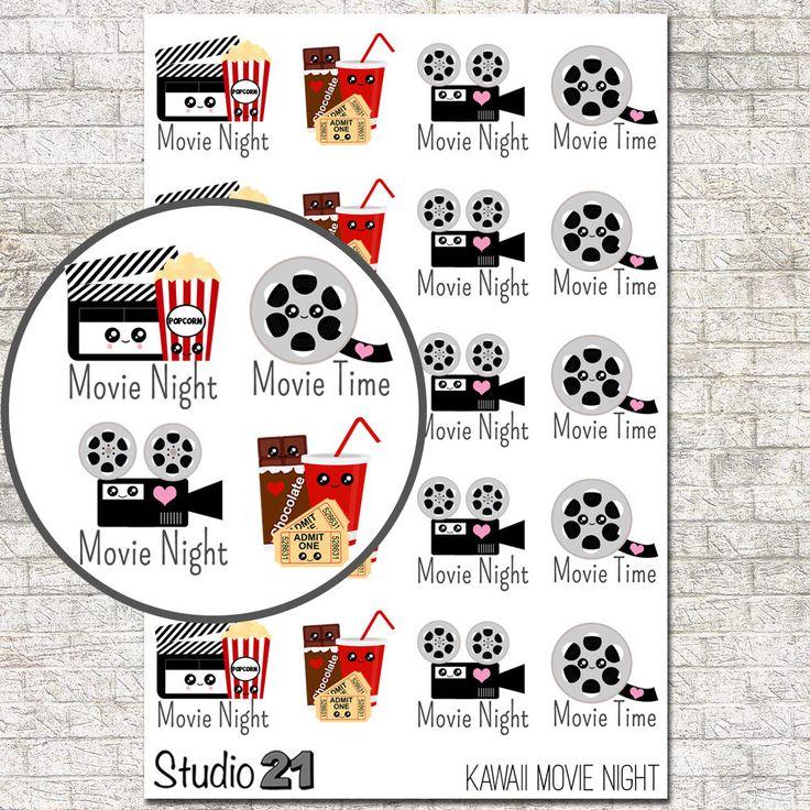 Kawaii Movie Stickers Movie Night Movie Theater Popcorn