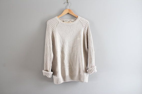 Timberland Sweater Oatmeal Beige Chunky Knit Pullover by Amilialia