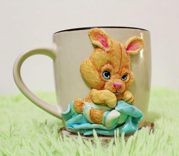 bunny rabbit cup mug mug with decor handmade mug gift gift