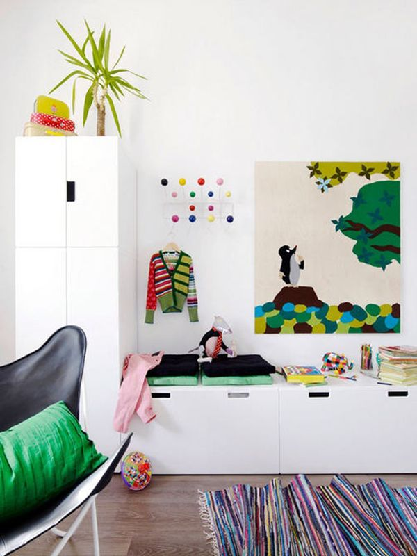 12 Great Kids Rooms: IKEA's STUVA storage benches topped with cushions, as seen in this image from Finland's Evening magazine, are perfect in a kid's room.