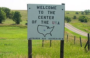 Geographic Center of the U.S., Lebanon, Kansas  Apparently, Toto, we are in Kansas. That is, if you are searching for the geographic center of the continental United States, which was calculated to be just outside this northern Kansan town, located off U.S. Highway 281.