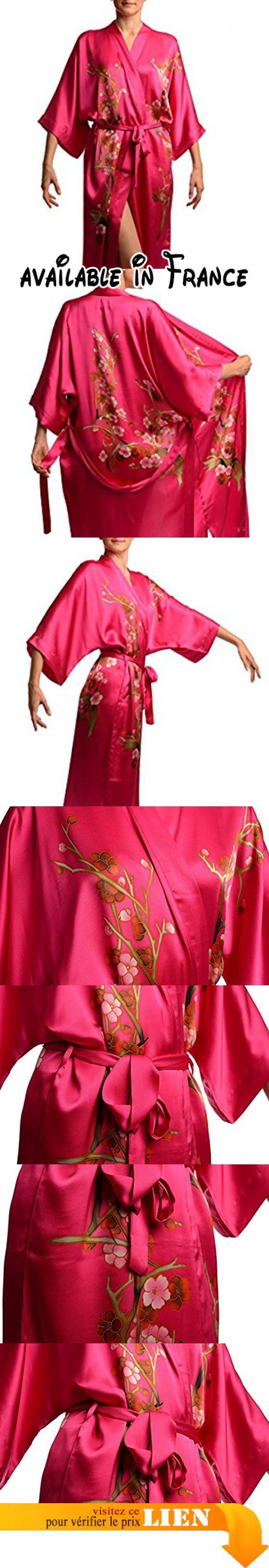 """Pink With Sakura Bloom Luxurious Silk Dressing Gown (Robe) - Rose Robe de Chambre Taille Unique (165 cm). Taille Unique (165 cm). Merci de renseigner """"Lisskiss"""" dans le champs recherche pour acceder a l'ensemble de nos produits #Apparel #SLEEPWEAR"""