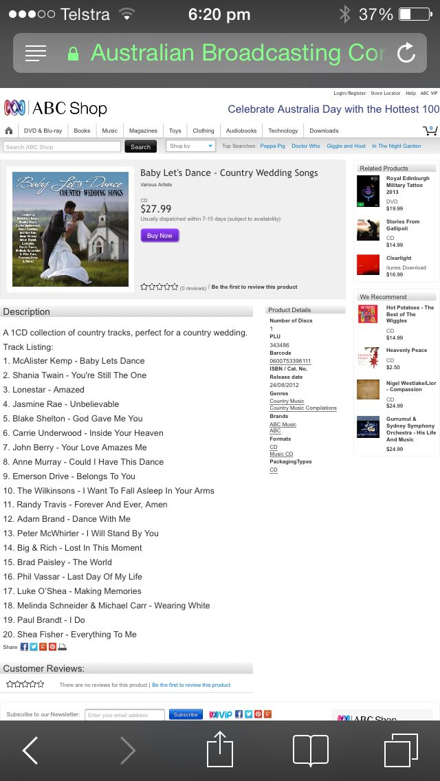 Country music wedding songs.