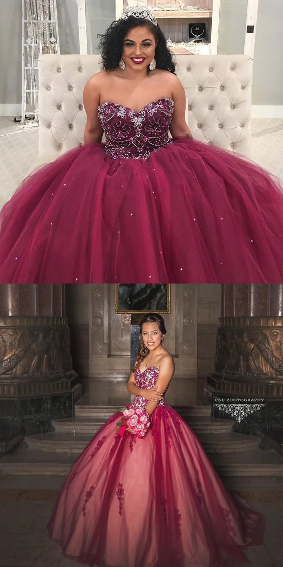 02405ccd375 Ball Gown Sweetheart Wine Tulle Quinceanera Dress with Beading