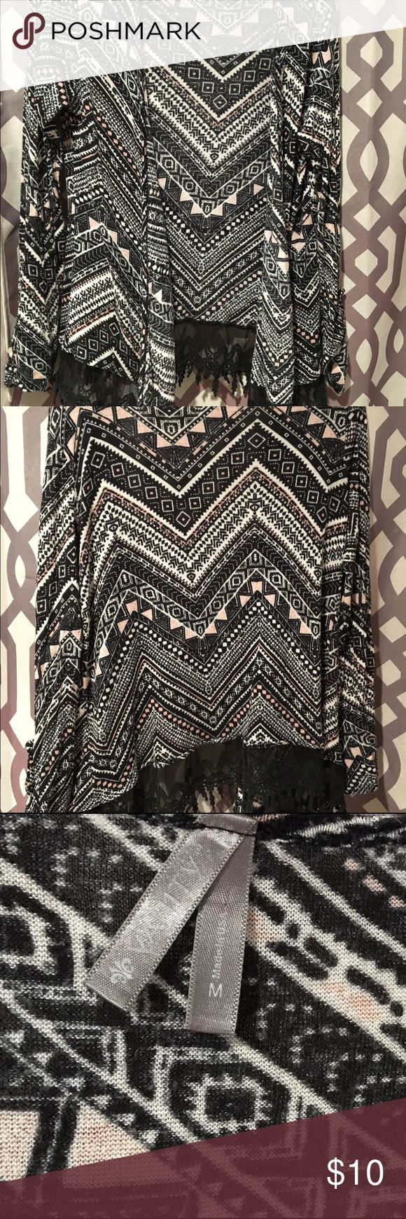 Black, pink and white tribal cardigan Black, white and pink tribal cardigan lined in lace trim. Pre owned and loved ❤️ Vanity Sweaters Cardigans