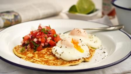 Sweetcorn pancakes, poached eggs and salsa. A healthy breakfast packed with flavour