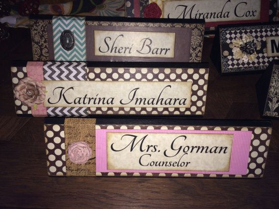 Unique Wooden Office Desk Name Plate / Plaque / by ShelleeOdom