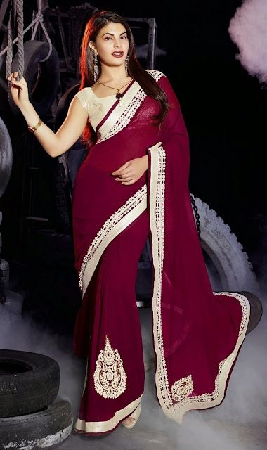 Maroon Coloured bollywood Designer Saree With White Elegant Art Silk Blouse & Butta Work