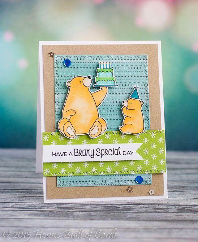 Birthday Bears: MFT, critter sketch, Houses Built of Cards