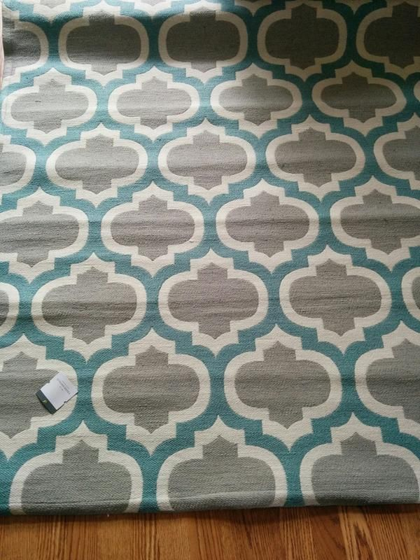 Teal & Gray area rug for the office.