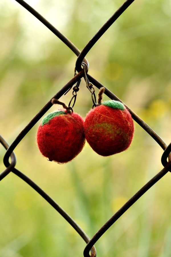 Red apple earrings made in needle felting technique are very cute and tasty. These red woollies are just perfect for spring and summer.