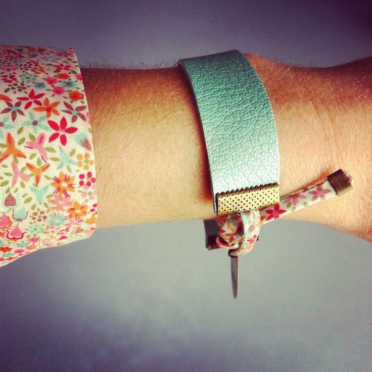 bracelet en cuir & lien en liberty eve #violaineosiocreation
