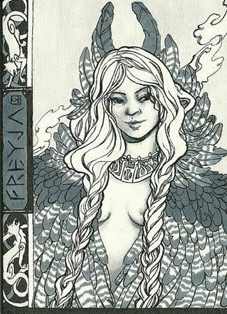 Goddess of the huldra -- Goddess Freya, daughter of the sea god Njord. She is the goddess of love, fertility, beauty, sexual desire, Queen of the Valkyrie, and is the most beautiful of the goddesses. She rules over Folkvangr where half of those who die in battle go (the other half going to Valhalla with Odin).