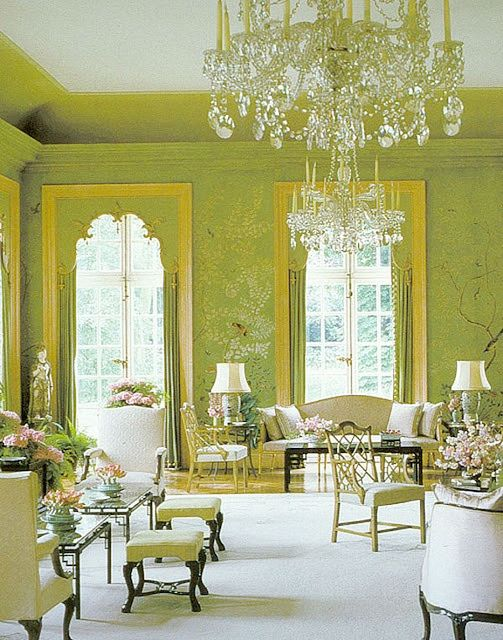 *Living Rooms, Drawing Room, Green Wall, Livingroom, Billy Baldwin, Sitting Room, Chinoiserie Wallpaper, Windows Treatments, Green Room