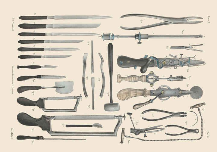Victorian era surgical saws, knives and shears for operations on bone.