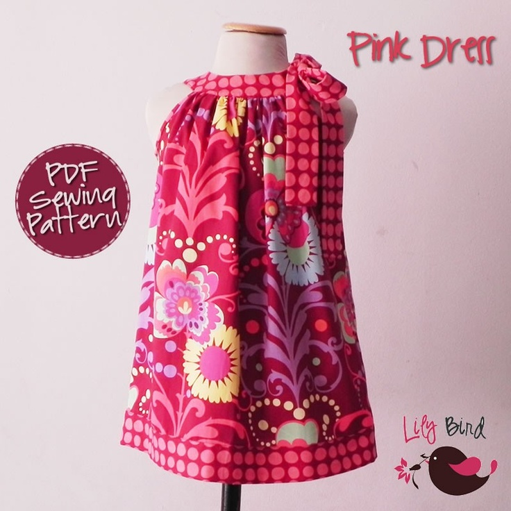 Lily Bird Studio PDF Sewing Pattern - Pink Dress - pillowcase style - 12 months to 8 years - easy sew & 149 best SewLovePatterns images on Pinterest | Sewing patterns ... pillowsntoast.com