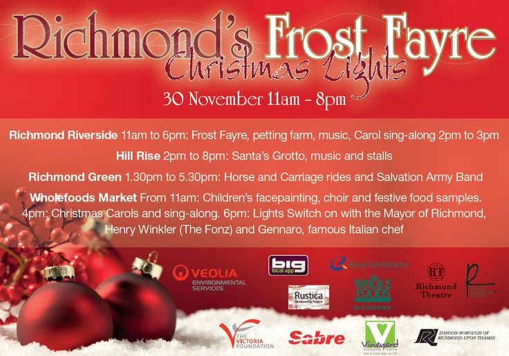 Richmond Frost Fayre! 30 Nov 11am - 8pm. Pizzeria Rustica offering free pizza. Museum of Richmond 11am to 5pm: free family workshop for children to create their own Christmas candles and learn about a Victorian Christmas. Vineyard Community Centre 3pm to 7pm: receive a free hot chocolate. Henry Winkler will be at Richmond Waterstone's 4.30pm to 5.30pm for a one-off signing of his Hank Zipzer book. Free sing-along with Shelle Luscombe, local singer. Richmond Rock Choir performing 5pm to…