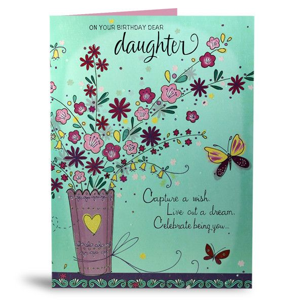 Happy Birthday Card For Daughter On your birthday dear daughter, Capture a wish live out a dream celebrate being you.. Size : 12 X 9 Inch.   Rs. 224   Shop Now   https://hallmarkcards.co.in/collections/shop-all/products/happy-birthday-card-for-daughter