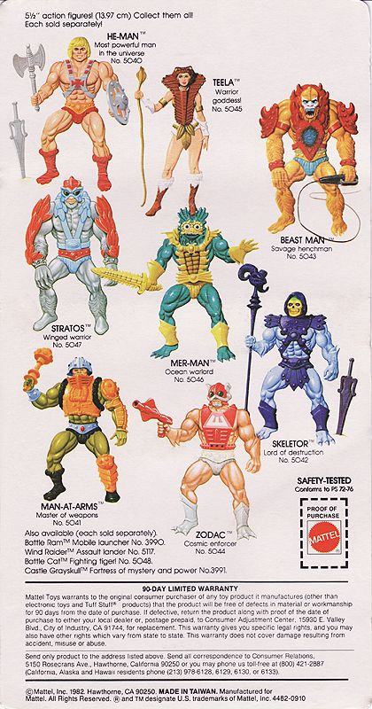 Masters of the Universe Figure Card Back (Mattel 1982)