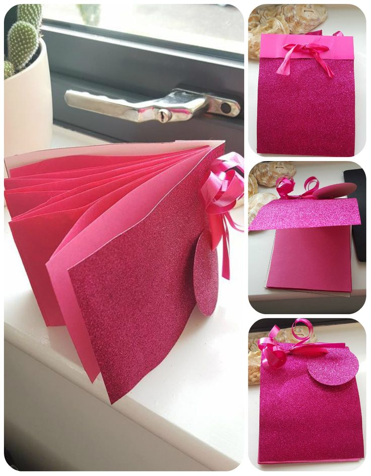 Notebook or gift card made from gift bag and pink coloured paper. Craft idea
