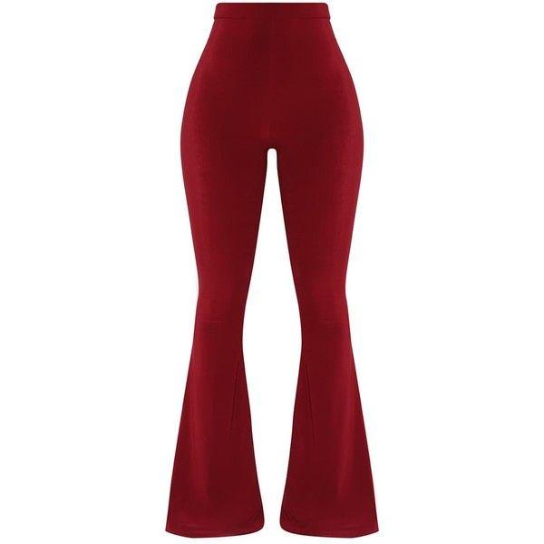 Shape Wine Slinky Flared Trousers ($25) ❤ liked on Polyvore featuring pants, red pants, red trousers, flared trousers, wine pants and flared pants