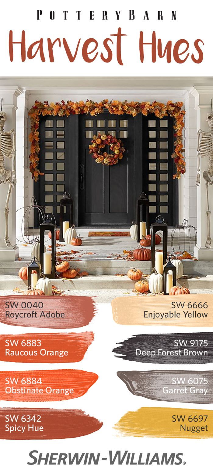 Approach fall with the perfect palette of harvest hues. Whether you're seeking some subtle ambiance or going all-out this autumn, this warm palette of earthy reds like Roycroft Adobe SW 0040, soft neutrals like Enjoyable Yellow SW 6666 and dark tones like Deep Forest Brown SW 9175 coordinates with the Pottery Barn furniture and decor you love.