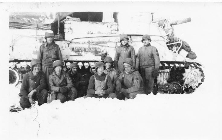 Members of the 3rd Army, 6th Armored Division (or Super Six) that fought under General George S. Patton in the Siege of Bastogne, december 1944.