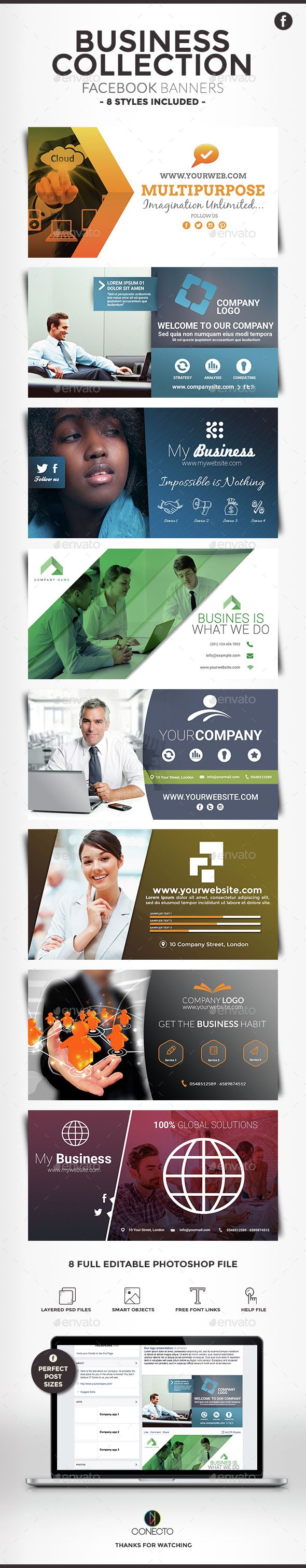 Facebook Banners - Business Collection — Photoshop PSD #corporate #profile • Available here → https://graphicriver.net/item/facebook-banners-business-collection/15001510?ref=pxcr