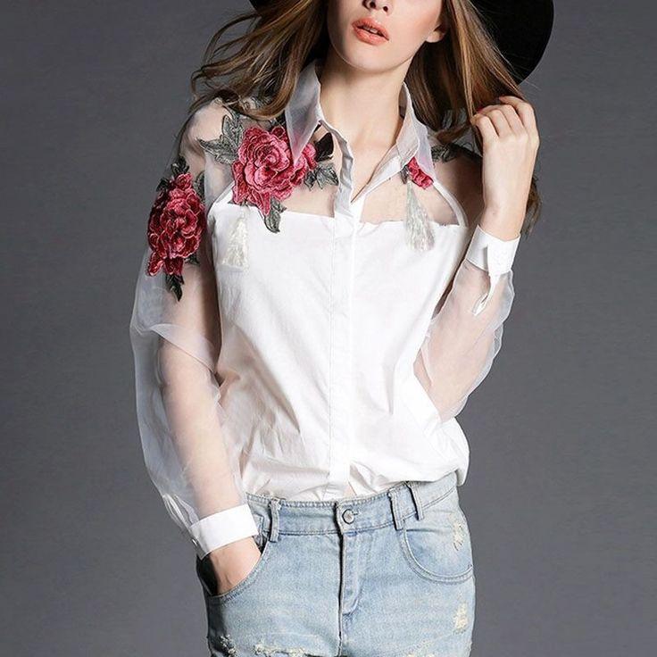 Hot Selling 2016 Zanzea Fashion Women Elegant Flower Embroidery Organza Blusas Feminina Casual Mesh Blouse Tops Plus Size