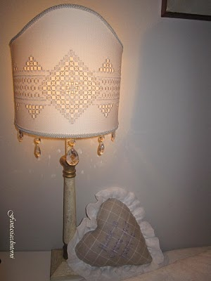 Hardanger designed lamp shade.