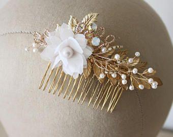 Peinetón de oro floral nupcial peine, peine del pelo de la boda - 'Querubín'