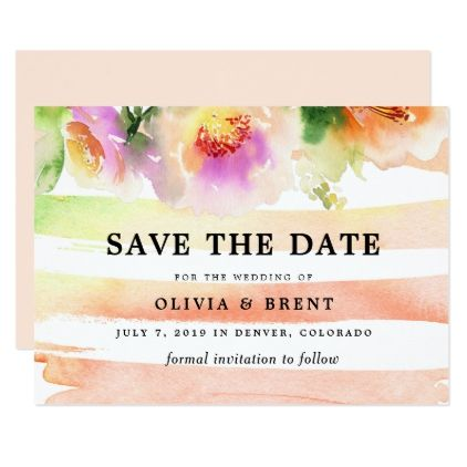 Peaches and Cream Floral Wedding Save the Date Card - invitations custom unique diy personalize occasions