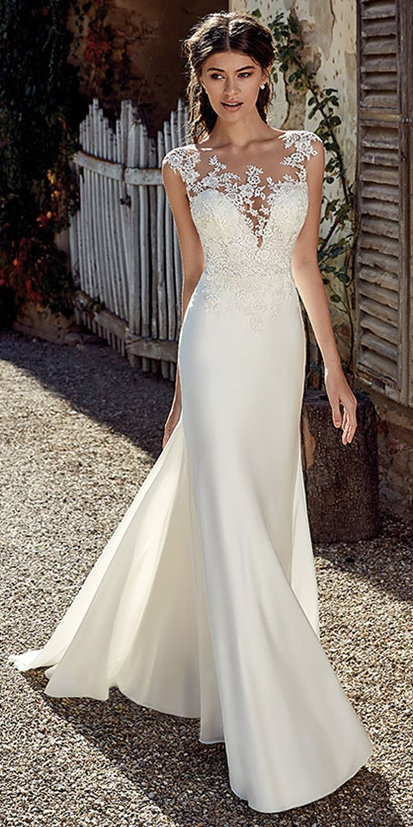 [223.50] Modest Satin Bateau Neckline Mermaid Wedding Dresses With Lace Appliques