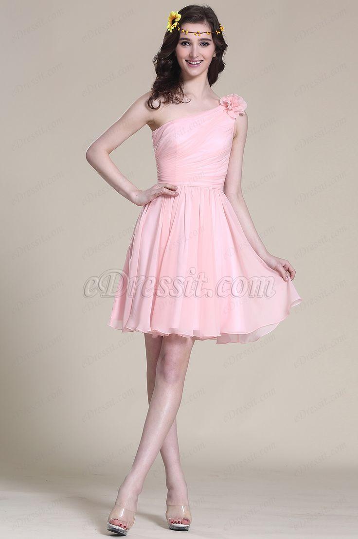 Floral One Shoulder Pink Bridesmaid Dress Party Dress (07151901) #edressit #pink_dress #bridesmaid_dress #cocktail_dress