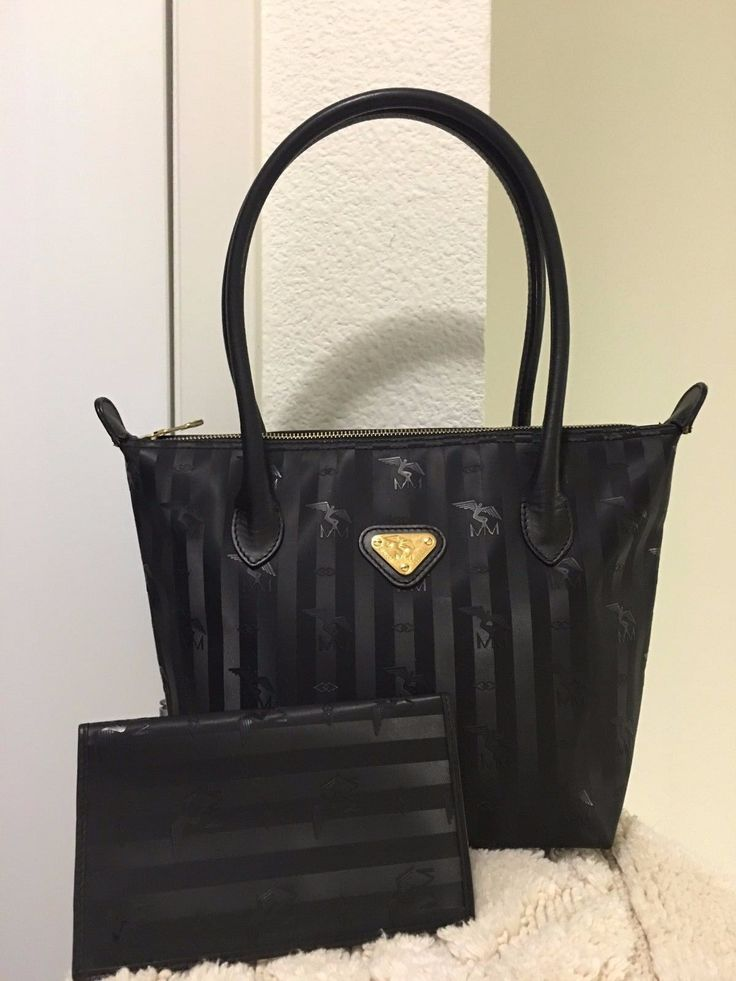 Maison Mollerus Vinerus Berlin Black Canvas PVC/Leather Size Medium Bag / wallet