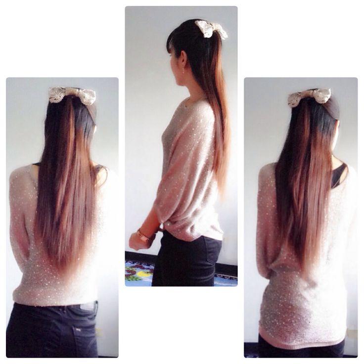Long hair&bangs&bow