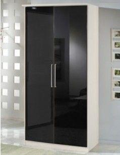 armoire chambre 2 portes blanc et laqu noir emeline - Armoire Chambre Moderne