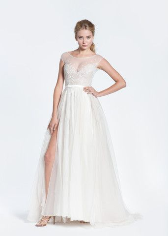 Paolo Sebastian Swan Lake Wedding Dress with Nude Bustier - Nearly Newlywed Wedding Dress Shop