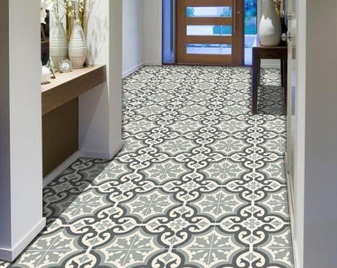 Vinyl Floor Tile Sticker Floor Decals Carreaux Ciment Encaustic Trefle 2 Tile Sticker Pack In Sand Tiles Floor Decal Vinyl Wallpaper