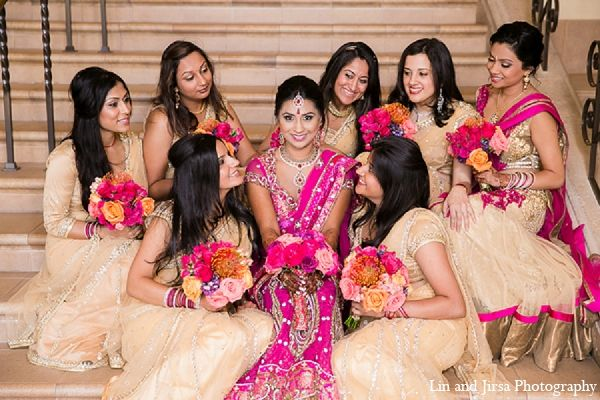 Indian bride and her bridesmaids on her wedding day.
