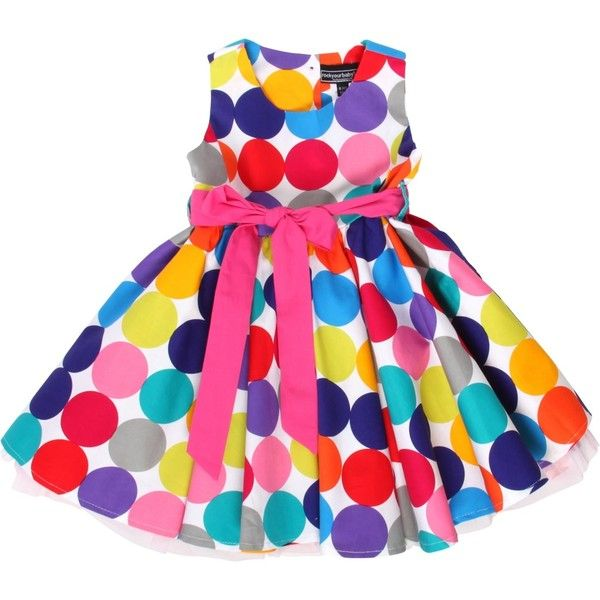 60s style summer dress - pop dots - dresses - clothing - Product ❤ liked on Polyvore featuring baby, baby clothes, baby girl clothes and kids